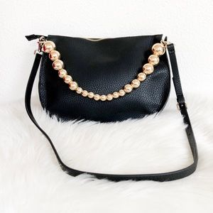 Zara Black Crossbody Purse w/Gold Ball Handle